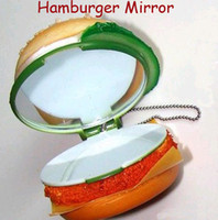 Wholesale Free Ship cm Hamburger Pocket Mirror Phone Charm Keychain Crispy Chicken Sandwich Bag Pendant