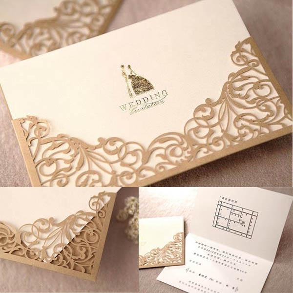 High Quality Gold Lace Cut Out Wedding Invitations Party ...
