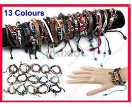 Wholesale 120pcs Leather Braided Hemp Surfer Belt Bracelet Wristband For Men Women Bracelets B374 B389 M