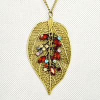 South American colored rhinestones - iron leaf charm pendant necklace with red and colored rhinestones great design NL