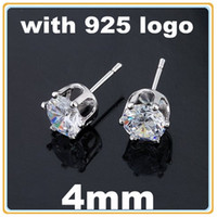 Wholesale 40pairs CZ Stud Earrings Zircon Stud Earrings Sterling Silver Stud Earrings With Logo