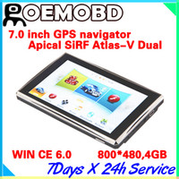 Wholesale 7 inch GPS Navigation System SiRF Atlas V Dual core CPU MHz DDR M G Support AV In Bluetooth