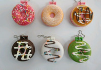 Wholesale 25 Pieces Cartoon Donut Squishy Charm pocket cosmetic mirror cell phone charm pendant Strap Keychain