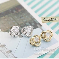 Wholesale factory jewelry new hot ear of the pin alloy stones gold plated silver earrings