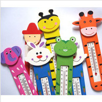 Wholesale 6 Styles Wooden Cute thermometer Cartoon Indoor With magnet Thermometer