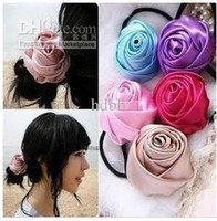 Wholesale fabric hair band silk roses hair ring hair rope headdress hair accessories rubber band