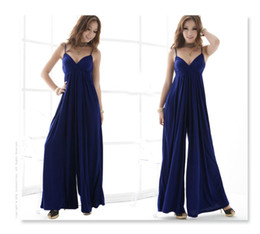 Wholesale Europe and the United States Jumpsuit Sexy pants Strap Jumpsuit V neck sling long wide leg pants