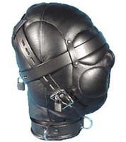 Wholesale Luxury QUALITY FAUX PVC BONDAGE LOCKABLE GIMP HOOD Leather Mask Sex Toys Headgear SM products
