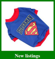 Wholesale popular Dog Puppy Clothes Cotton Pet Superman Spring Summer T Shirts Teddy Coat Gifts