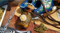 Cheap Wholesale Carved long leather cord necklace Retro cork Wishing bottle sweater chain