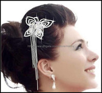 Wholesale New Arrival Butterfly shaped Side Comb Rhinestone Hairpin Bridal Wedding Jewelry Hair ornaments