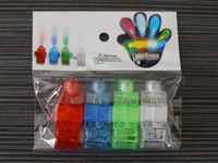 Wholesale 100pcs LED Mitts Gloves Finger beams Ring Lights Rave Party Glow laser fingers kids toys opp package