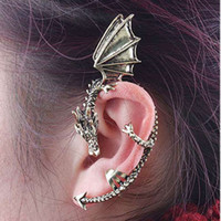 Brass,Copper ancient dragons - 30 Silver gold Dragon Wrap Ear Cuff Earring Ancient Silver studs rock roll style