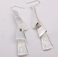 Women's Silver Plate/Fill Dangle & Chandelier Silver-plated 925 silver Chandelier Dangle square Earrings Drop Earrings 20pcs lot mix order