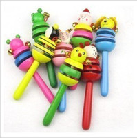 Wholesale Children rattles Cute Wooden rattles toys baby cartoon animals bell rattle