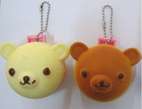 Wholesale FreeShip Mix Bear Rilakkuma Squishy Charm Pocket Cosmetic Mirror Cell Phone Bag Pendant Strap