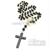 Wholesale Fashion Cross Beaded Rosary Necklace With Gold Ring And Black Beads Necklaces Men Women