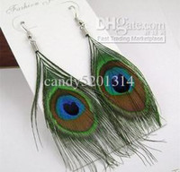 Wholesale Womens Peacock Feather Pierced Earrings Real Feather Hot selling Fashion Ring