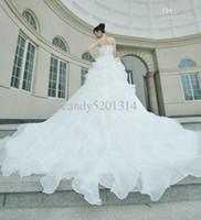 Wholesale Luxury wedding dress classic marriage gauze wiping a bosom trailing wedding dress