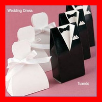 Wholesale NEW Fashion White Black Bows Pairs Stock Wedding Bridal Favors Candy Party Boxes Favor