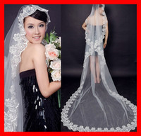 Wholesale 2016 Cheap M Stock Fashion Royal Lace Long Veils Applique Romantic White Wedding Bridal Veils Veil