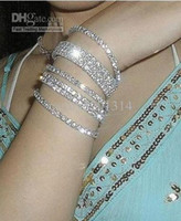 Wholesale 100pcs Rhinestone Crystal Stretch Tennis Wedding Chain Bracelets promotion gift