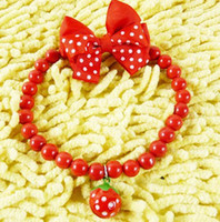 Wholesale Attractive red strawberry necklace Polka Dot bow jelly beads strawberry bell dog necklace