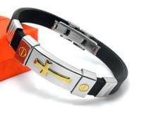 Wholesale Titanium Steel Silicone Gold Cross Silver Cross Couple Bracelet Wrist Strap