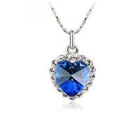 Pendant Necklaces heart of the ocean - 925 Sterling Silver Plating Blue Crystal Peach Heart Rhinestone Necklace The heart of ocean crystal necklace Wedding Jewelry Gifts MG08