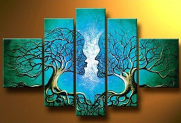 Wholesale hand painted dream Blue lovers trees landscape oil paintings on canvas set mixorde Framed