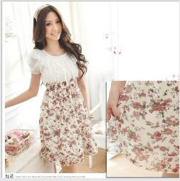 Wholesale PROMOTION Hot Sale Ladies Dress Women Dress Floral Chiffon Dress Red and Purple flower