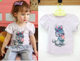 Wholesale 2016 new children girls rabbit eat ice cream pleated short sleeve T shirts vest kid overshirt dress SZ06 pink white