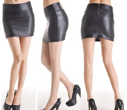 Wholesale 2012 Elasticity Matt Black Imitation Leather Mini Skirt Tight Solid Color With Zipper Women s Skirts