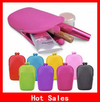 Case silicone  Fashion Silicone Cosmetic Bag Portable Pencil Case Silicone Phone Bags Money Wallet Free Shipping