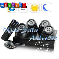 Wholesale Best SecurONE Deux CH H264 MPEG DVR Complete Surveillance Kit With Cameras IR Dome amp GB HDD