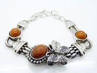 Wholesale New Arrival Silver bracelet Gems Brown Gemstone Flower Ladies Noble women s Bracelet