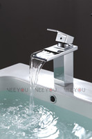 Chrome bath deck - HOT Sell Bathroom Deck Mounted Waterfall Basin faucet Luxury Bath Sink Water Mixer NY02717B