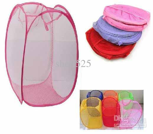wholesale collapsible laundry basket colorful mesh dirty clothes storage basket color stochastic - Basket Femme Color
