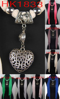 Wholesale Scarf jewelry roses necklace Hollow out heart pendants scarves charm Jewellery color MIX HK1833