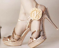 Wholesale New fashion women shoes lady sequins ultra high with fish head sandals decorated with flowers