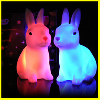 Wholesale LED Wedding Room Decors Rabbit Night Lights Bed Room Decors LED Birthday Gifts Color Box Pack YD26B
