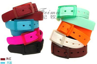 Wholesale Fashion Candy Color Silicone Rubber Unisex Lady Men Belt Candy colors Waistband Buckle Strap color