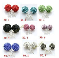 Wholesale 10mm AB clay CZ crystal ball earrings studs mix color cheap hot sale earring stud jewerlry
