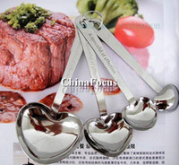 Wholesale Stainless Steel Heart Measuring Spoons Sweet gift heart love sharped in a set