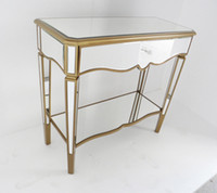 Wholesale MR glass mirrored furniture console table with shelf