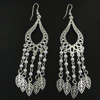 Wholesale Drop Earrings Beaded Leaves shape Pendants Copper Women Silver Fashion LK2155