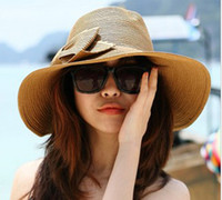 Wholesale Fashion Folding Wide Brim beach hat sun hat Korean women straw bow hat summer UV protection