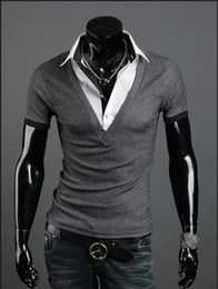 Wholesale Drop shipping Short Sleeve False Two piece Shirt Collar Casual T Shirts For Man Fashion New