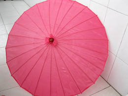Wholesale Plain Fuschia Oriental Bamboo Parasol Fabric Cloth Umbrella Floral Pattern
