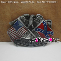 Wholesale Rebel and US flag belt buckle confederate belt buckle with pewter finish FP